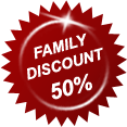 Family Discount 50% off!